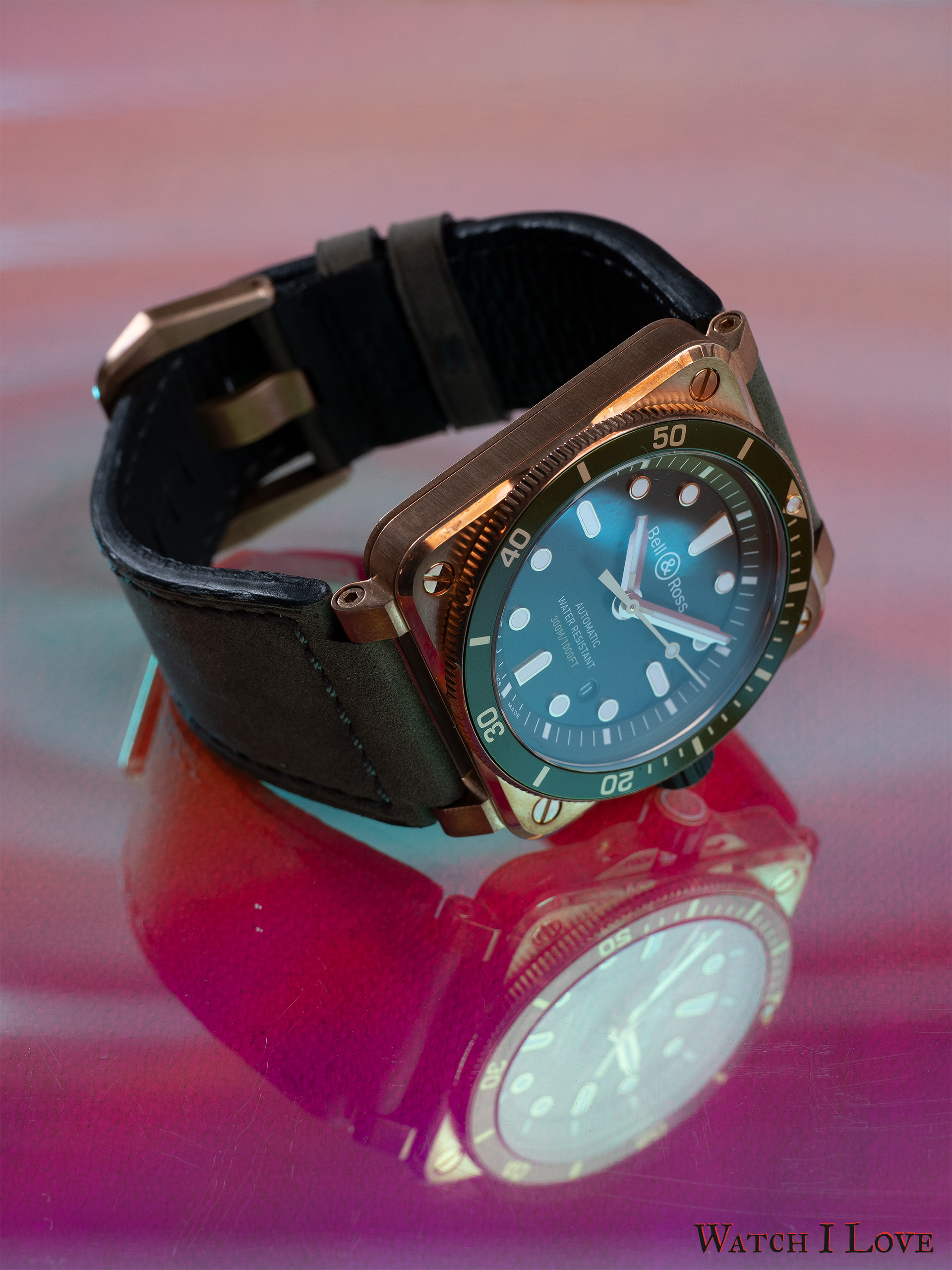 The Green Bronze Diver in a pink world