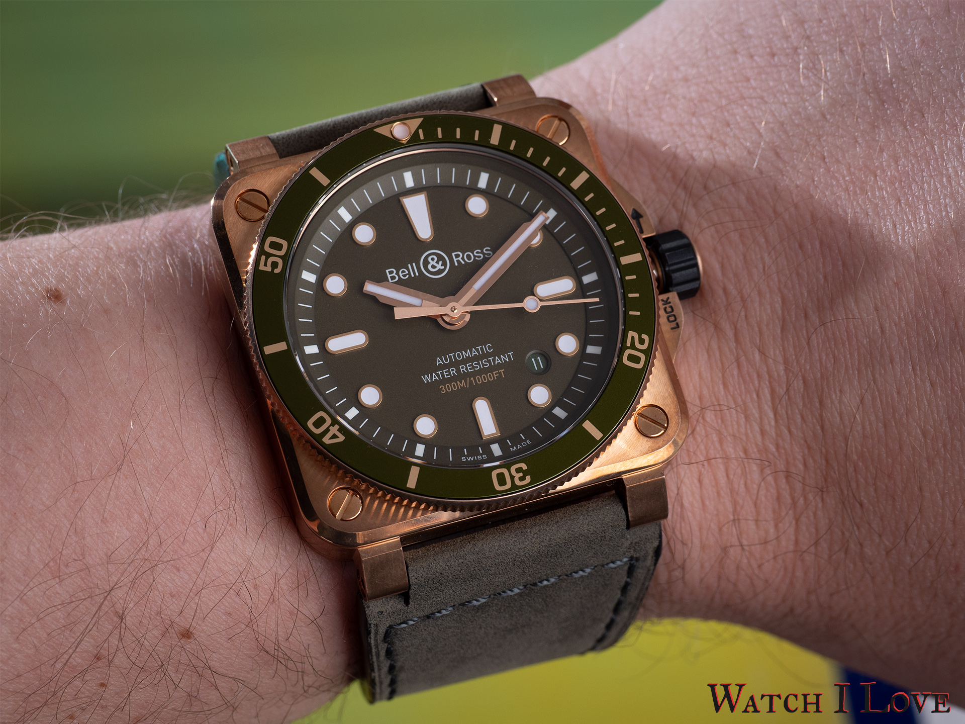 BR03-92 Green Bronze Diver on the wrist