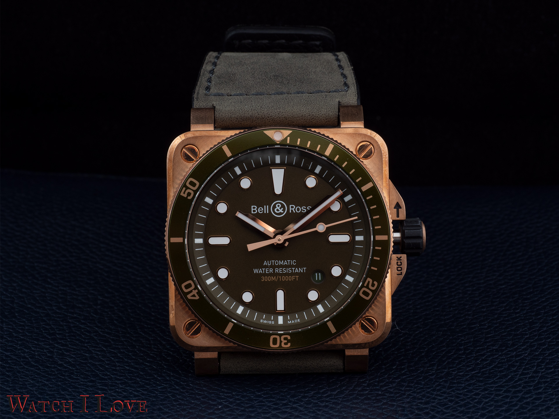 Bell&Ross BR03-92 Green Bronze Diver front view